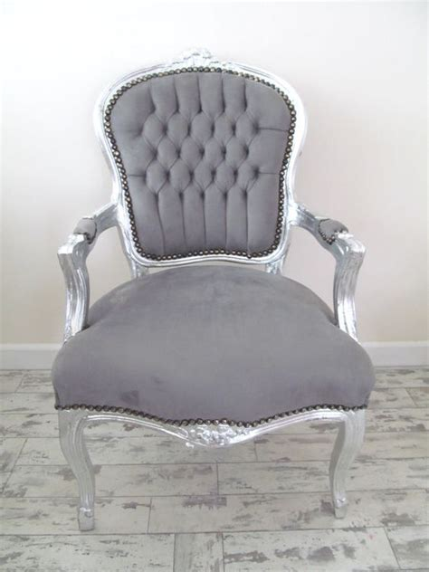 Chic Armchair by Lyla Roze Grey Shabby Chic Silver Louis Armchair
