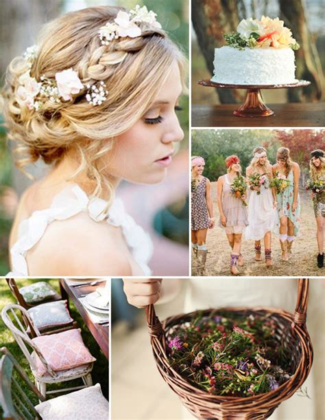 floral arrangements inspired boho theme wedding ideas and wedding invitations