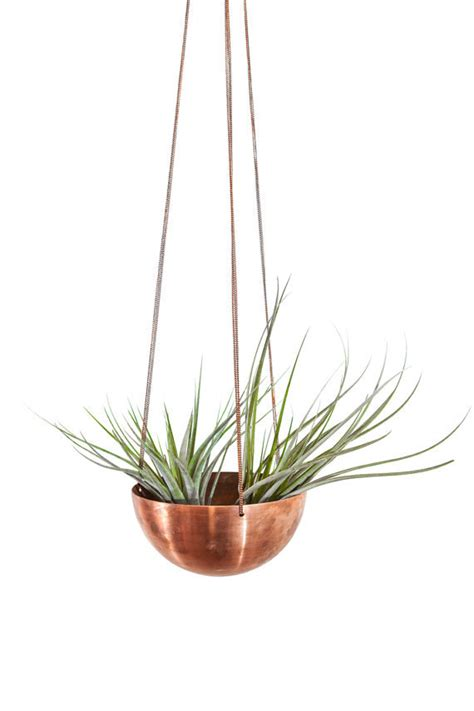 large hanging planter basket with spun copper by