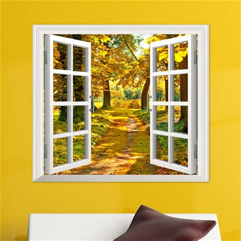 3d window view yellow wood 3d wall decals autumn view