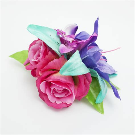 Gr Aqua Flower Pink purple pink turquoise tropical orchid seashell and starfish hair flower bad