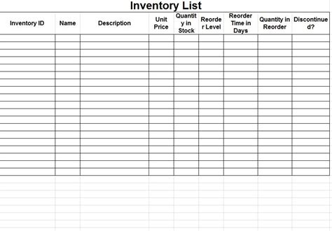 inventory template 5 excel inventory templates excel xlts