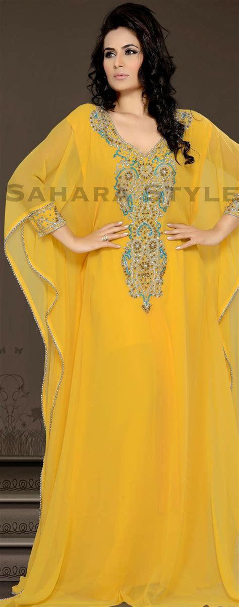 yellow kaftan arab dubai style kaftan farasha jalabiya