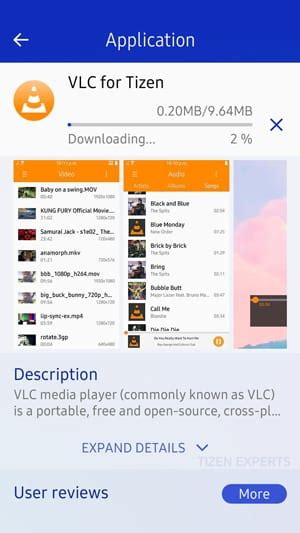 vlc now available in tizen store for samsung z1 on tizen 2