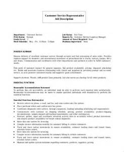 Customer Service Description Resume sle customer service representative resume 7