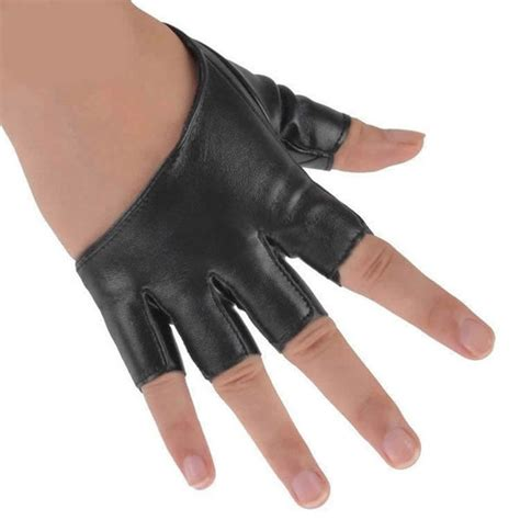 Gloves O Halffinger vogue pu leather half palm finger gloves hip hop cool gloves
