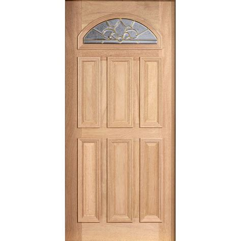 Solid Wood Exterior Door Slab Door 36 In X 80 In Mahogany Type Unfinished Beveled Brass Fanlite Glass Solid Wood Front