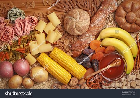 carbohydrates symbol foods high carbohydrate stock photo 95067940