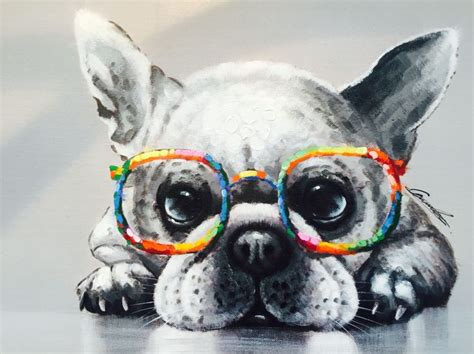canvas picture  dog  colourful glasses   dog