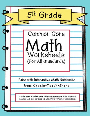 Common Worksheets 5th Grade Math by Common Worksheets 5th Grade Edition Create Teach