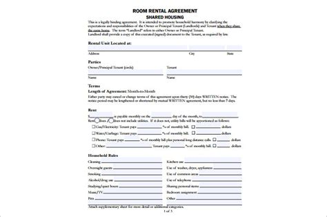 shared tenancy agreement template rental agreement template free pdf word documents