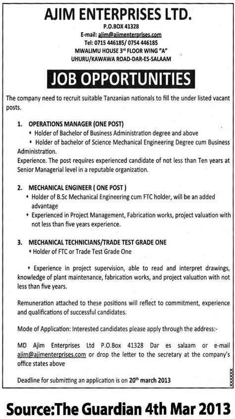 Mechanical Technician Description by Operations Manager Mechanical Engineer Mechanical Technicians Trade Test Grade One Tayoa