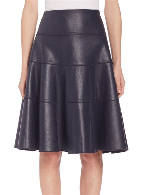 faux leather flounce skirt in blue lyst