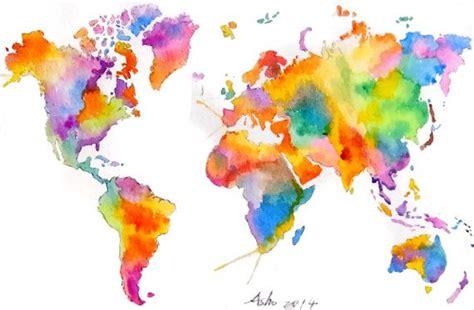 ooak original world map colorful watercolor painting 5 x 7 watercolors originals and