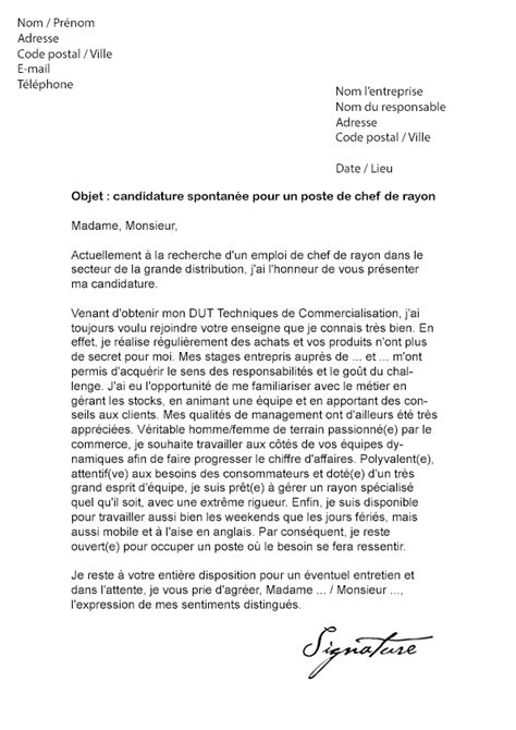 Exemple Lettre De Motivation Carrefour Lettre De Motivation Chef De Rayon D 233 Butant Mod 232 Le De Lettre