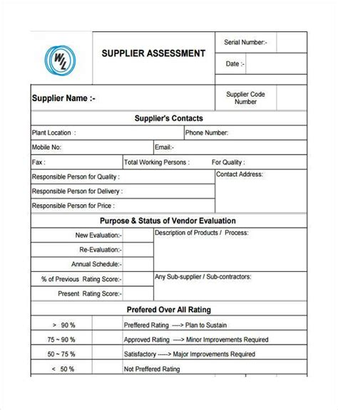 vendor risk assessment template sle supplier assessment forms 8 free documents in