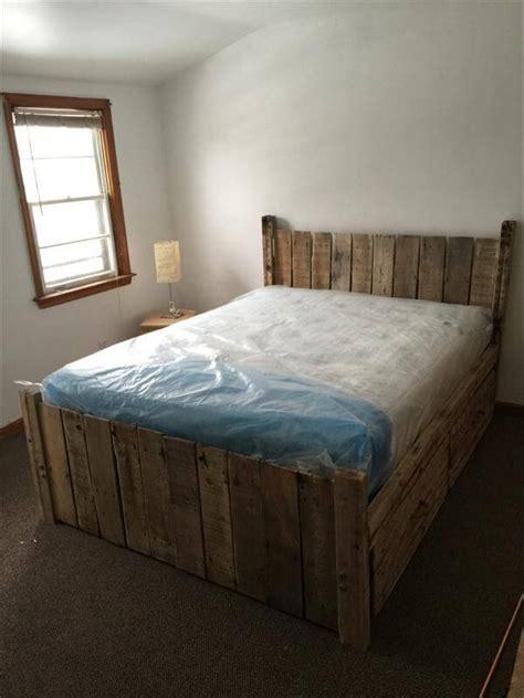 diy custom built pallet platform bed  pallets