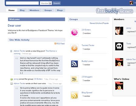 buddypress themes like facebook buddypress como facebook