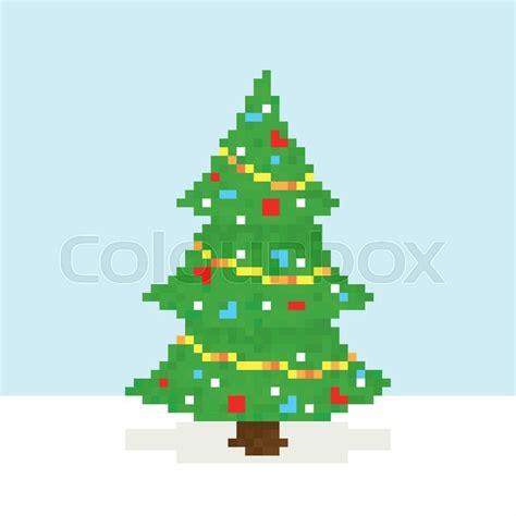 best pixel merry christmas pixel sryle merry tree vector postcard stock vector colourbox