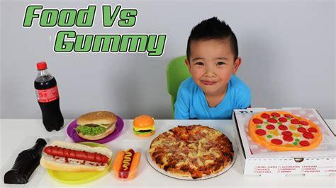 food tasting challenge food vs gummy challenge