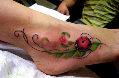 cute ladybug foot tattoo with leaves tattooimages biz