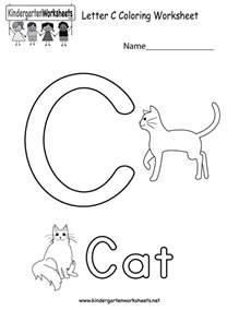 letter c coloring worksheet free kindergarten english