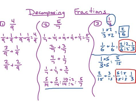 Decompose Fractions Worksheet by Decomposing Fractions Math Elementary Math Math 4th