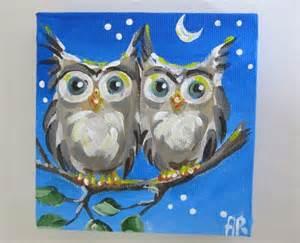 owl painting on canvas night owl original mini