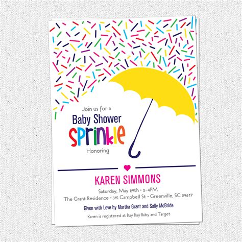 sprinkle baby shower invitation raining rainbow sprinkles and