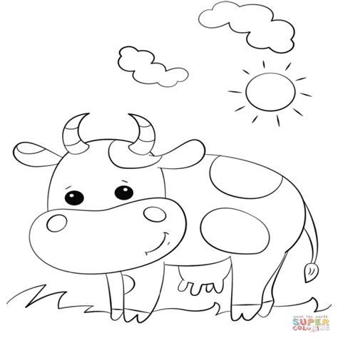 imagenes virtuales para colorear dibujo de vaca linda de dibujos animados para colorear