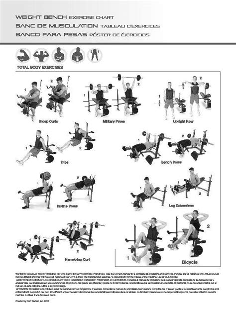 weight bench workouts charts cap barbell deluxe bench w 100 pound weight set walmart com