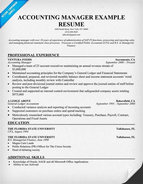 resume exle for accounting position how to write resume for accounting manager order custom