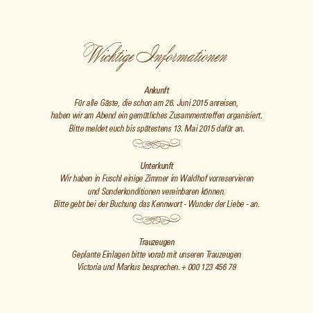 Hochzeitseinladung Informationen by Einlagekarten Rosige Zeiten Sepia
