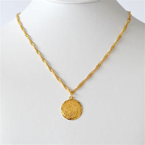 middle east coin jewelry arabic coin pendant 24k gold