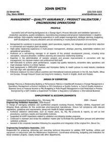 quality assurance management resume sle template