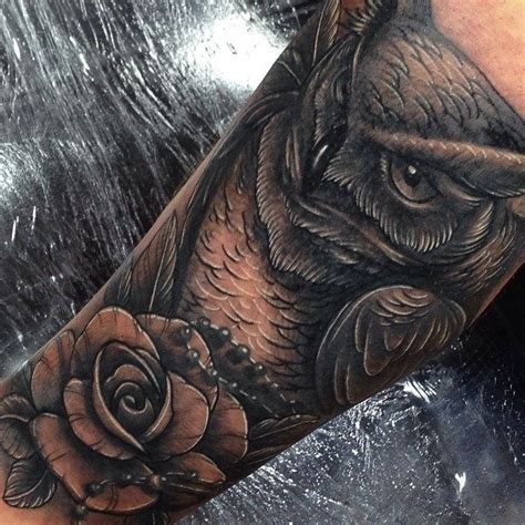 iron horse tattoo owl and cover up on the leg by craig