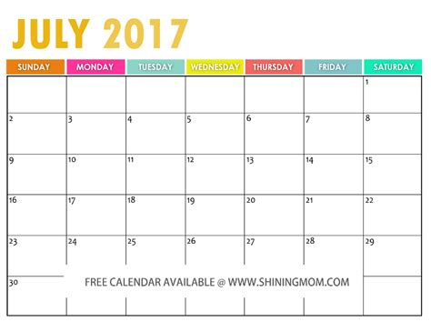 Free Printable July 2017 Calendar the free printable 2017 calendar by shining