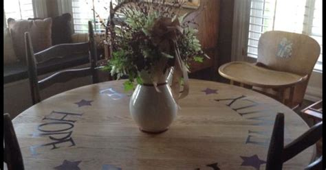 Barn Style Dining Room Table stenciled dining table cute country home pinterest