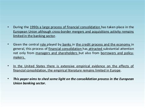 Mba Mergers And Acquisitions Conference by Mergers And Acquisitions And Bank Performance In Europe