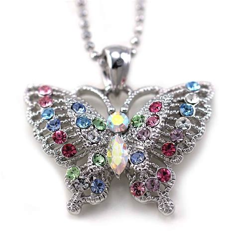 colorful butterfly necklace shopping with adam