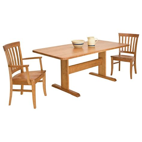 Single Leg Dining Table Solid Wood Trestle Dining Table Lyndon Furniture American Made