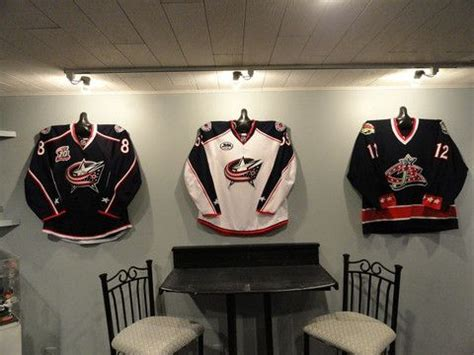 jersey home decor on pinterest beautiful hockey jersey display in the man cave thanks to