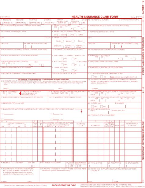 insurance claim form template health insurance claim form 1500 free