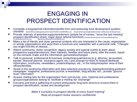 Engaging Your Board In Fundraising Donor Prospect List Template