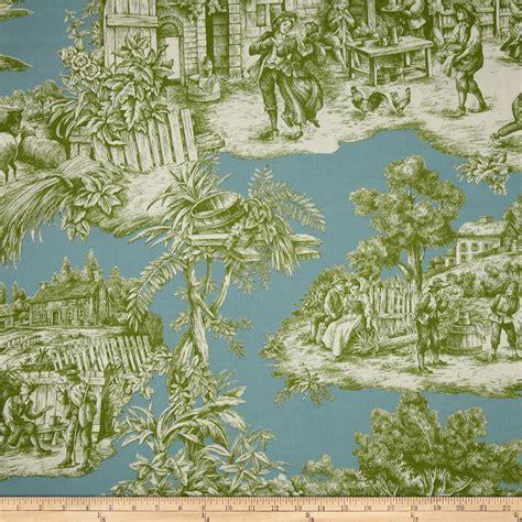 Designer Window Curtains Duralee Home Ernest Toile Aqua Green Discount Designer