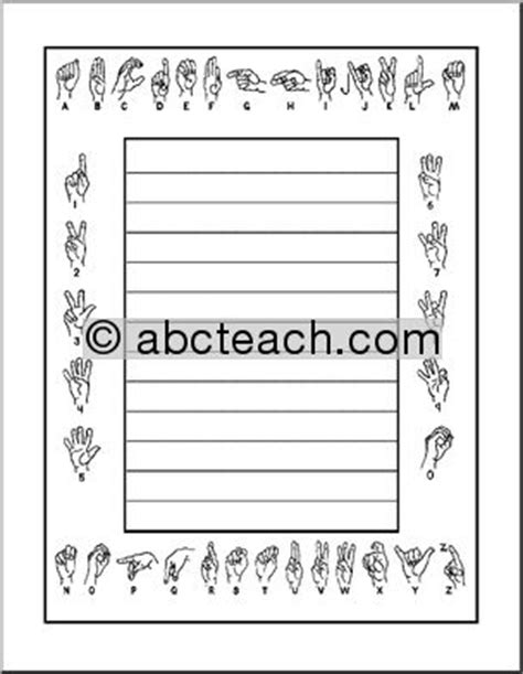 sign writing templates border paper american sign language primary abcteach