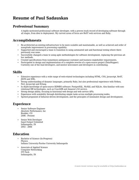 Summary For A Resume by A Summary For A Resume