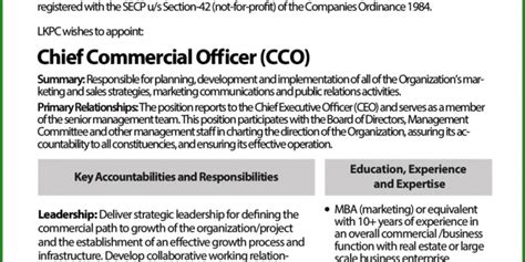 Chief Officer Salary by Chief Commercial Officer In Lahore Knowledge Park