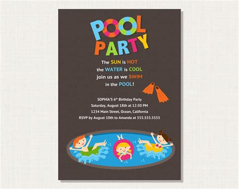 pool invitation card template pool invitation wording invitations templates