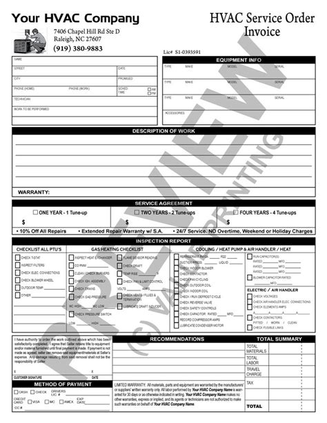invoice checklist template 17 best images about hvac forms on shops